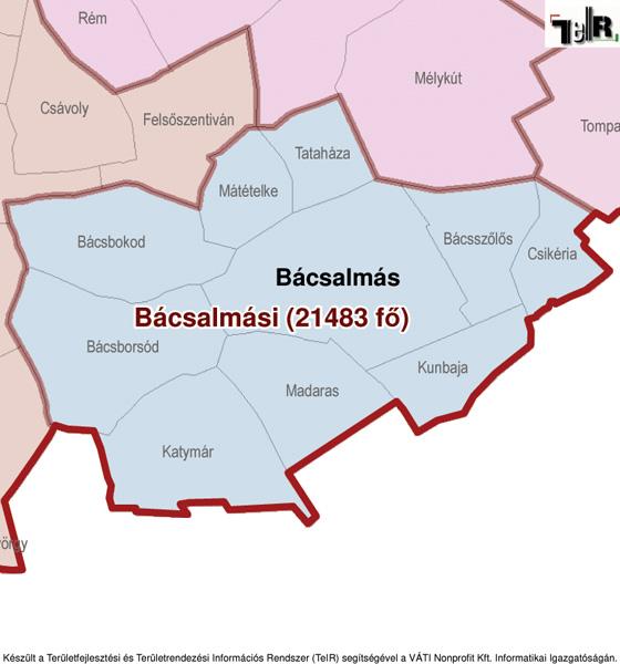 bácsalmás térkép Bácsalmás a járás térképen   Bácsalmás a Bácsalmási járáshoz  bácsalmás térkép