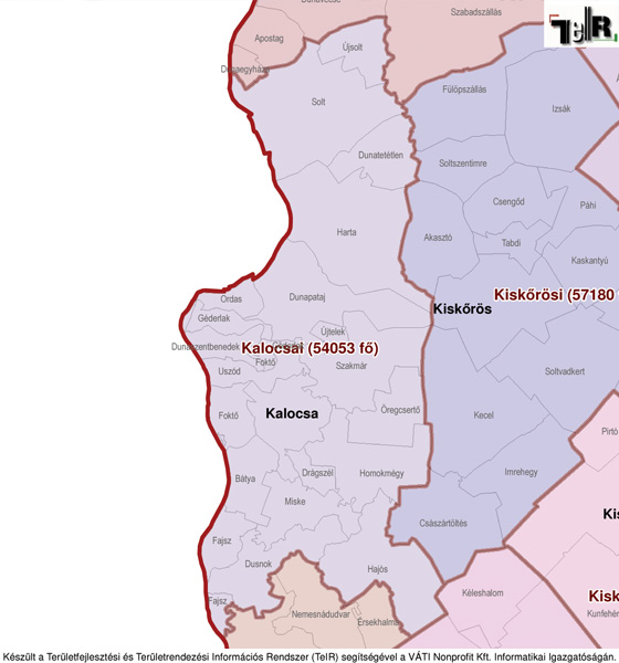 kalocsa térkép Kalocsa a járás térképen   Kalocsa a Kalocsai járáshoz tartozik  kalocsa térkép