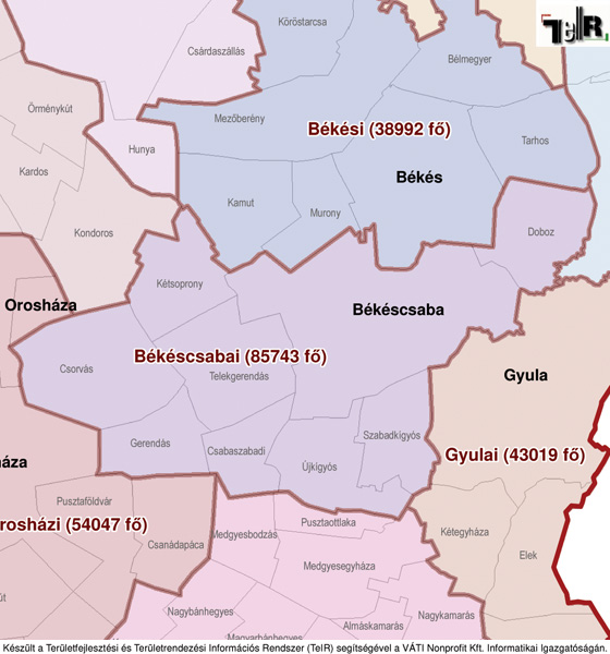 békéscsaba és környéke térkép Békéscsaba a járás térképen   Békéscsaba a Békéscsabai járáshoz  békéscsaba és környéke térkép