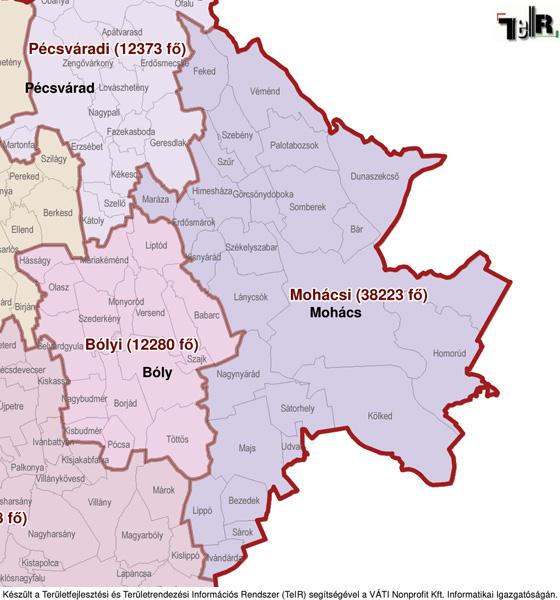 mohács térkép Mohács a járás térképen   Mohács a Mohácsi járáshoz tartozik  mohács térkép