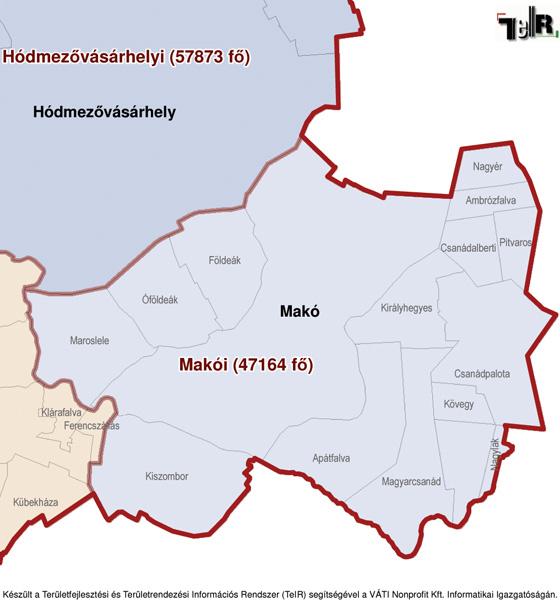 makó térkép Makó a járás térképen   Makó a Makói járáshoz tartozik   Makó  makó térkép