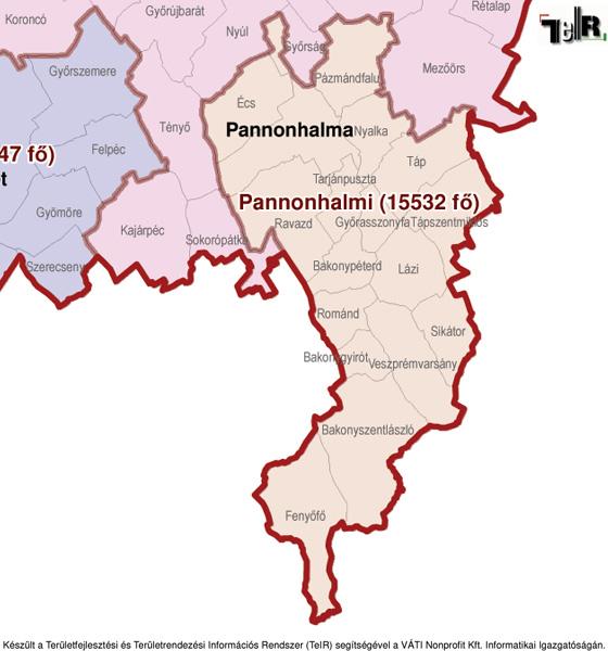 pannonhalma térkép Fenyőfő a járás térképen   Fenyőfő a Pannonhalmi járáshoz tartozik  pannonhalma térkép