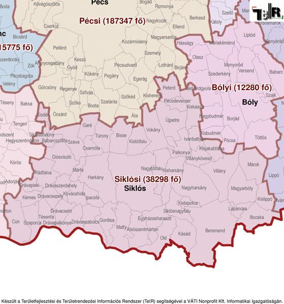 siklós térkép Siklós a járás térképen   Siklós a Siklósi járáshoz tartozik  siklós térkép